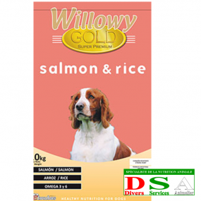 Willowy Gold Salmon and Rice - Croquettes riz et saumon - sac 15kg, DSA45